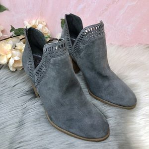 Vince Camuto Fileana Gray Suede Laser Cut Booties